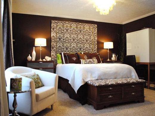 Дизайн спальни в коричнево-белых тонах фото