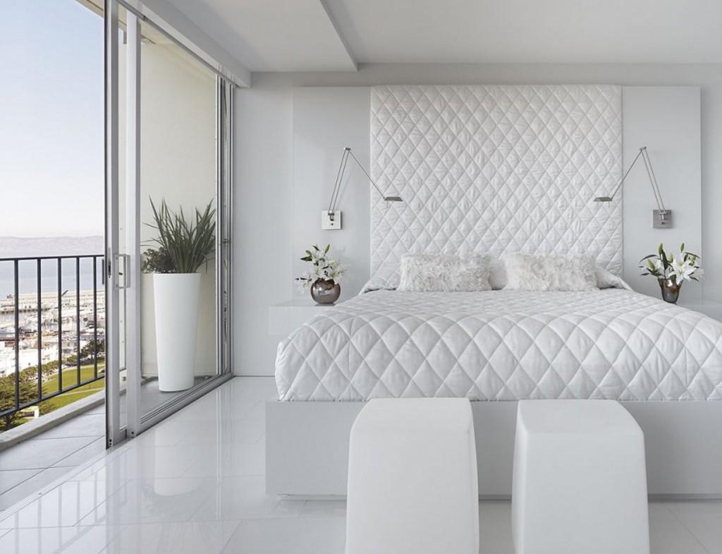 Интерьеры спальни в белых тонах